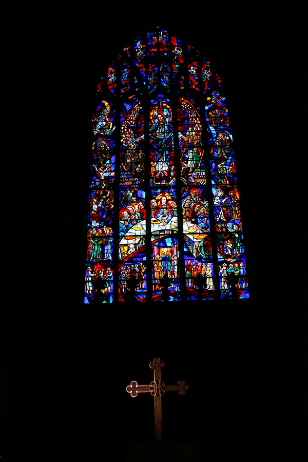 Cross and stained glass window image